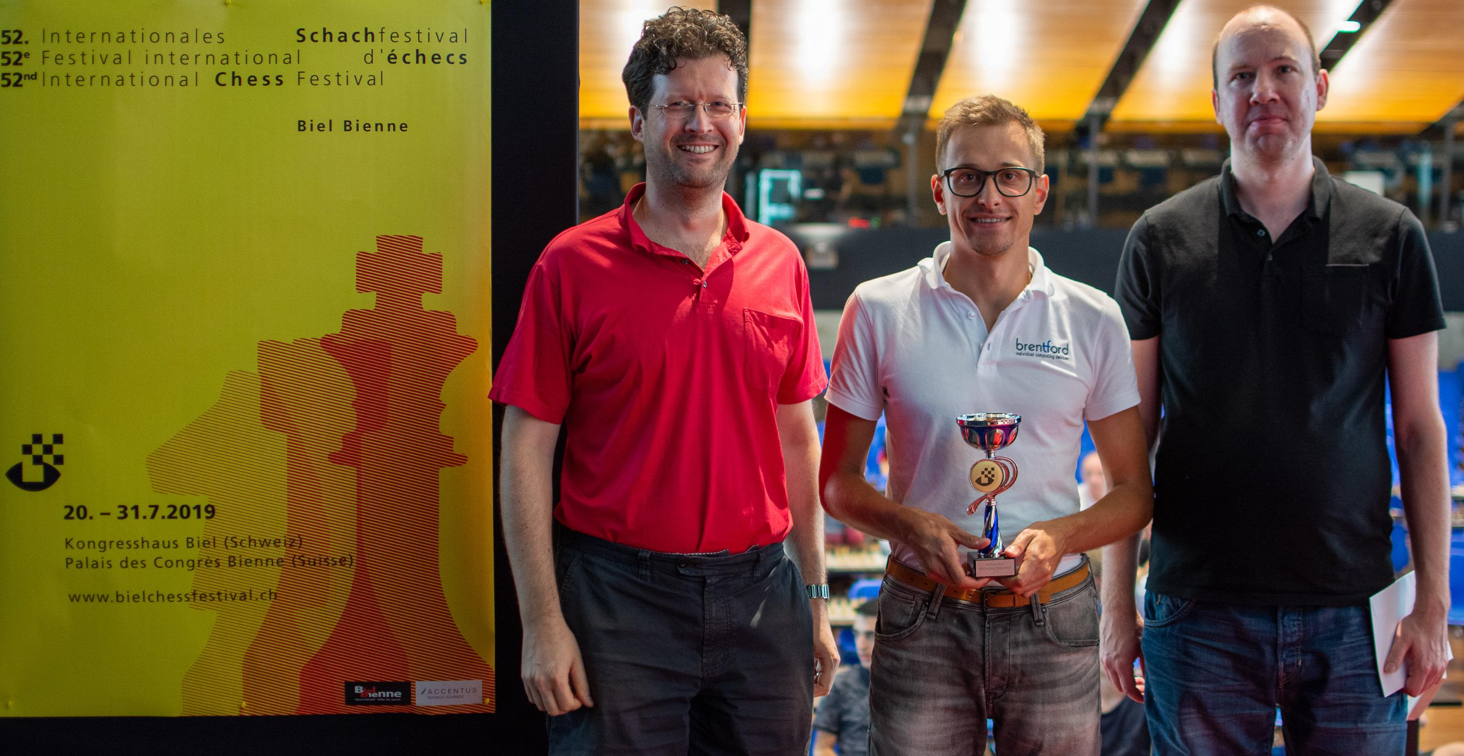 Image Podium Swiss Players- (from the left) Sandro Schmid (2nd), GM Noel Studer (1st), GM Jenni Florian (3nd)