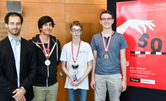 Podium of the U18 Youth Tournament: GM Yannick Pelletier (Director of the Grandmaster Tournament Biel), Kevin Lucca (2nd), Nicolas Perréard (winner) and Lukas Meier (3rd)