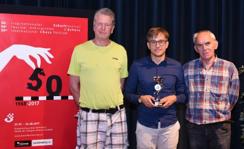Image Swiss Podium of the Rapid Tournament: IM Ekstroem Roland (3rd), IM Studer Noël (Swiss Champion) and FM Vulevic Vjekoslav (2nd)