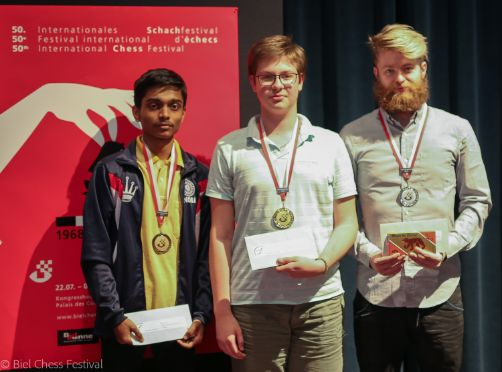Image Chithamb Aravindh (3rd), Kirill Shevchenko (winner) and Aman Hambleton (2nd)