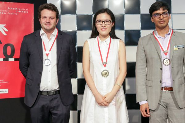The podium of the Grandmaster Tournament 2017: Etienne Bacrot (2nd), Hou Yifan (winner), Pentala Harikrishna (3rd)